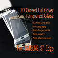 3D Curved Full Screen Tempered Glass Protector For Samsung S7 edge With clear carbon fiber Back sticker skin & free shipping