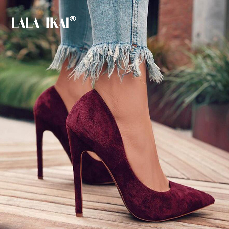 LALA IKAI bombas zapatos de mujer Zapatos rojo rebaño Slip-On superficial de la fiesta de la boda del dedo del pie puntiagudo zapatos de tacón alto de Chaussures Femme 900C1722-4