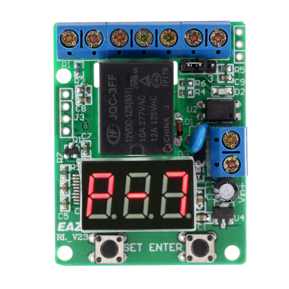 DC 12V PLC Cycle Timer Module Delay Time Delay Relay Switch Module Multifunction Self-lock Relay Module Voltage Detection led digital display circle delay time relay module time adjustable blue 12v