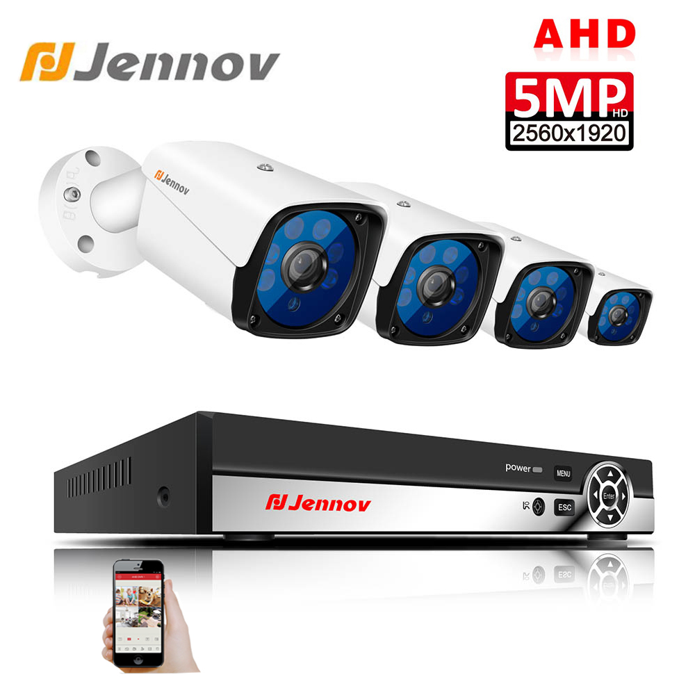 Jennov 5MP 4CH CCTV Camera Scurity System Kit IP Video Surveillance Outdoor Video Monitoring DVR AHD