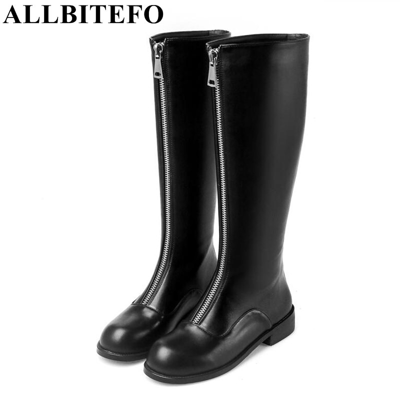 ALLBITEFO large size:33-41 genuine leather+pu thick heel women boots fashion zipper design low-heeled women knee high boots new arrival superstar genuine leather chelsea boots women round toe solid thick heel runway model nude zipper mid calf boots l63