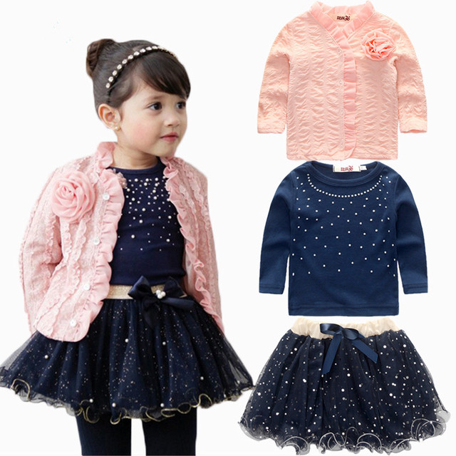 2016 2-6 years Fashion Spring Girls Clothing Set 3 Pieces Suit Girls Plink Flower Coat + Blue T Shirt + Tutu Skirt Clothes Girls