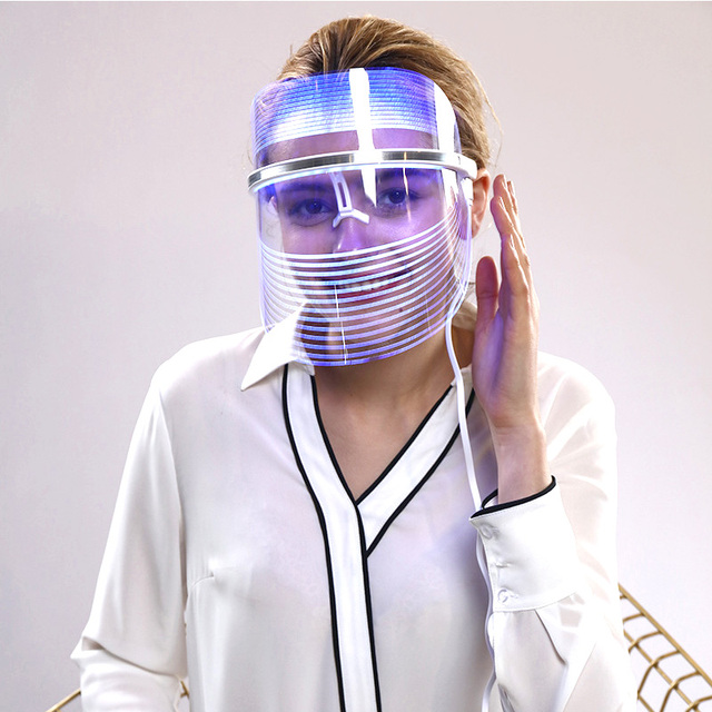 MEFISI 3 Renk Led Yüz Maskesi Kadın Yüz Güzellik Yüz Bakımı Led Maskesi terapi lambası Foton Beyazlatma Sıkılaştırıcı Cilt Yeni Işık