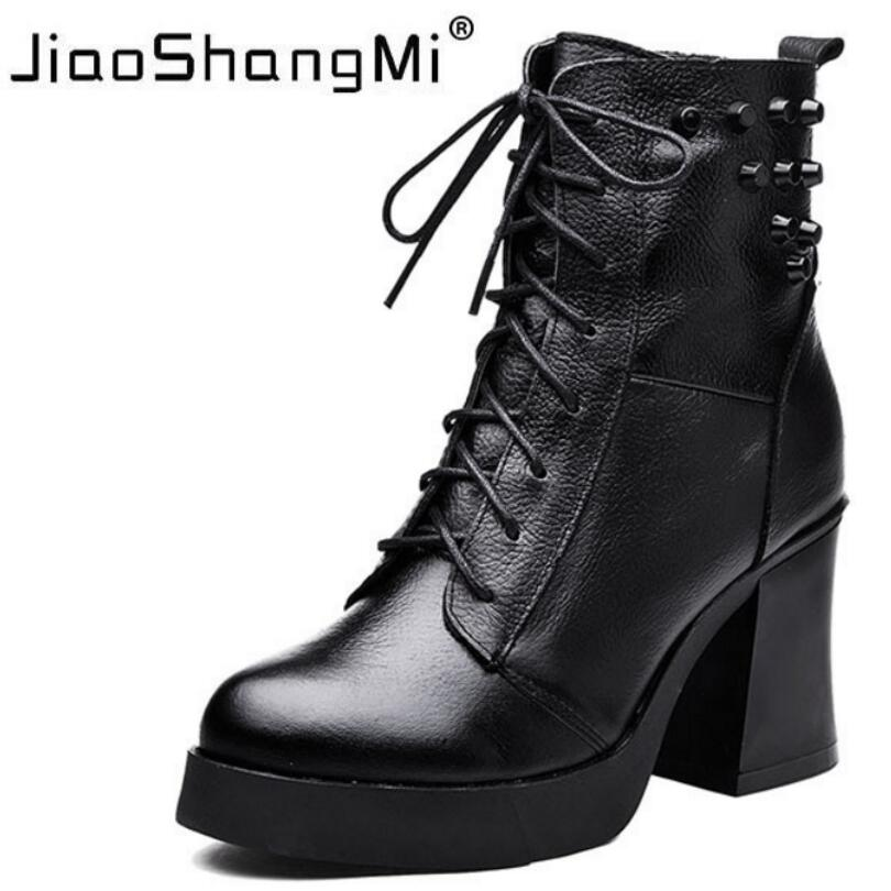 Square Heel Lace-Up Women's Martin Boots Round Toe Rivet Platform Genuine Leather Ladies Short Boots Black Winter Shoes Woman high quality genuine leather square heels martin boots for women round toe platform winter rhinestone snow martin boots