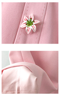 Vestido verano rosa corto sin mangas botón flor 6