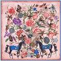 130cm*130cm New Flower horse Woman 100% silk winter scarf luxury brand 2017 scarves for women shawl stole bandana A146
