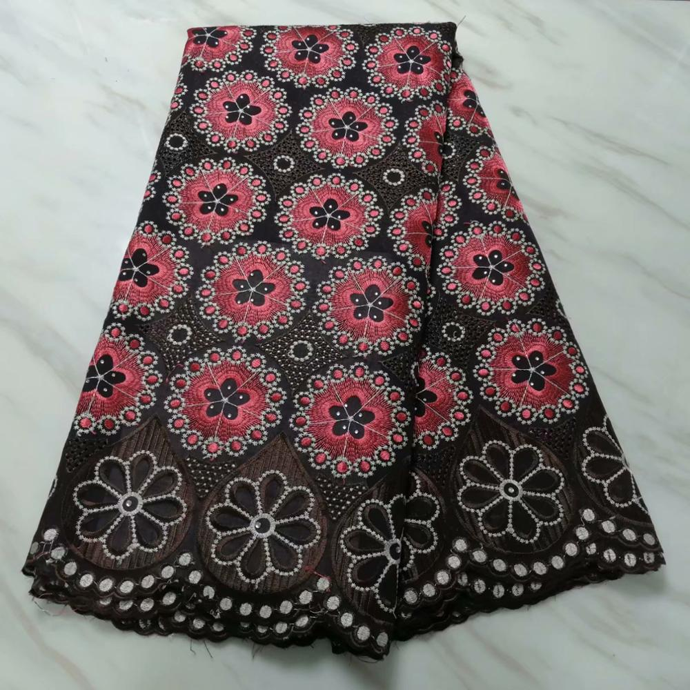 Image 3 - swiss hole lace cotton fabric flowers embroidered with stones,5  yards high quality nigerian material tissu africain brode cotonFabric