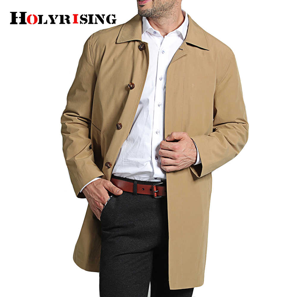 Holyrising men Trench Coat Breasted jacket Coat  Mens Clothing Long Jackets & Coats Style Overcoat M-4XL size #18130