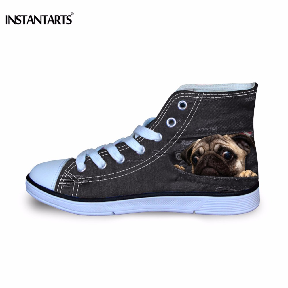 INSTANTARTS Black Denim Animal Print Children Canvas Shoes Dog Cat 3D Pattern Kids Flat Shoes Girls Boys Lightweight Sneakers