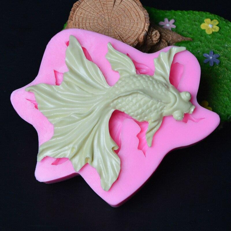 Novo 3d goldfish molde moldes de silicone