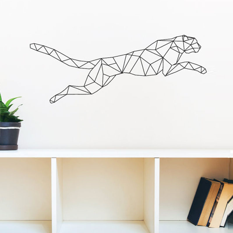 Saltatory Cheetah Wall Stickers Geometric Home Decor Wall