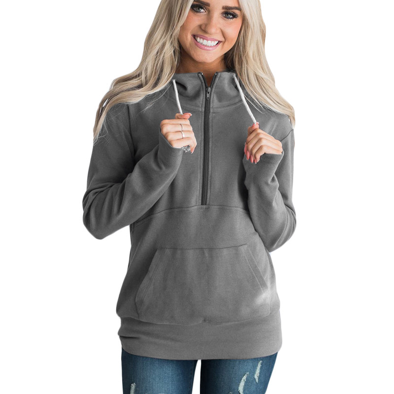 Zipper Solid Hoodie Women Casual Autumn Hooded Long Sleeve Female Stand Collar Black Red Gray Pullovers Sweatshirt Plus Size 3XL