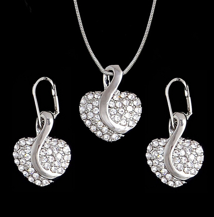 Fashion Silver Jewelry Sets Pendant & Necklaces Drop Earrings For Women Sets Free Shipping Jewelry Sets Wedding Party Set #5