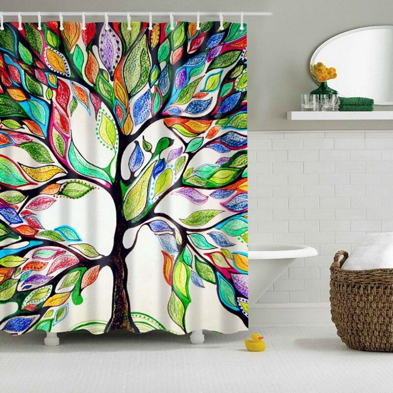 New Bathroom Waterproof Fabric Shower Curtain With 12 Hooks Colorful Tree Pattern Waterproof Fabric Bathroom
