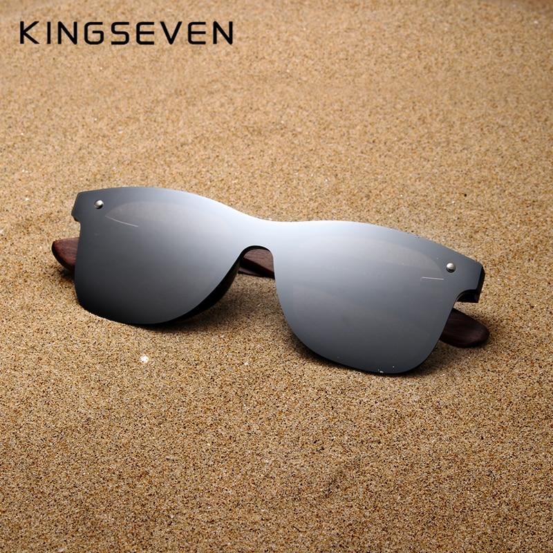 KINGSEVEN Handmade Sunglasses Men Polarized Walnut Wooden Eyewear Women Mirror Vintage Oculos de sol masculino UV400|Men
