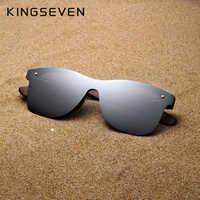 KINGSEVEN fait main lunettes de soleil hommes polarisées noyer en bois lunettes femmes miroir Vintage Oculos de sol masculino UV400