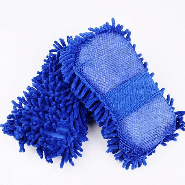 Microfibra esponja de lavado de coche limpieza cuidado del coche detalles cepillos Toalla de tela para lavado guantes de auto estilismo accesorios de lavado