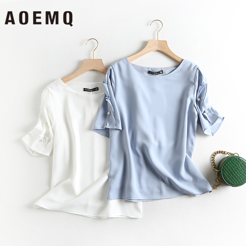 AOEMQ Fashion Shirts Casual High Street Summer Plant Theme Ruffle Sleeve Shirts Plus Size Tops Blouse Solid for Women's Clothing(China)