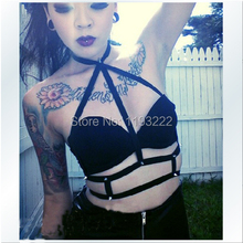 Basic Style Black Sexy Punk Goth Rivet Real Leather Harness Handmade Halter Collar Waist Belt Straps Body Bondage Cage