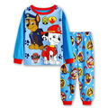 P813, pata do cão, 6 jogos/lote, crianças meninos pijama, 100% algodão, manga longa sleepwear/roupas conjuntos para 2-7Y