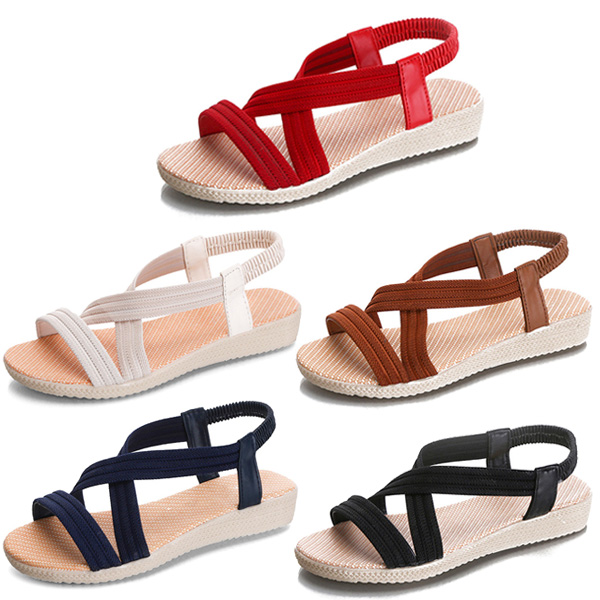 Summer Women Sandals Strappy Solid Color Elastic Strap Lady Beach Casual Shoes LXX9