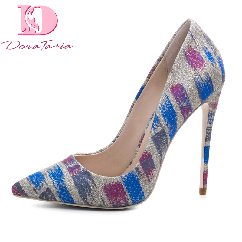 DoraTasia New womens Cloth Print Thin High Heels Mixed Colors slip-on Shoes Woman Casual Party Pumps Plus Size 33-45