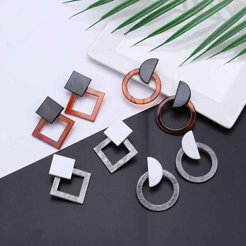 2019 Acrylic Earrings Women Big Vintage Statement Resin Oval Square Geometric Water Drop Dangle Earring Engagement Party Jewelry