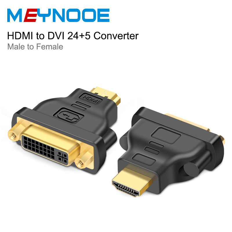 DVI to HDMI Adapter Converter DVI 24+5 Male to HDMI Female Converter Hdmi Cable HDTV LCD PC DVD Projector TV BOX Audio Aux Cable