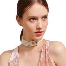 Fashion Multilayer White Imitation Pearl Choker with Metal Slice Fixation Wide Bib Necklace Jewelry for Charm Women WNW118(China)