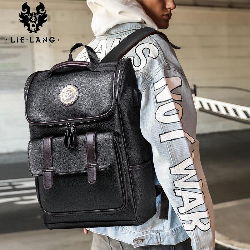 LIELANG sac à dos en cuir hommes ordinateur portable voyage sac à dos 15 pouces étanche sac à dos pour ordinateur portable USB collège Bookbag hommes mochila hombre