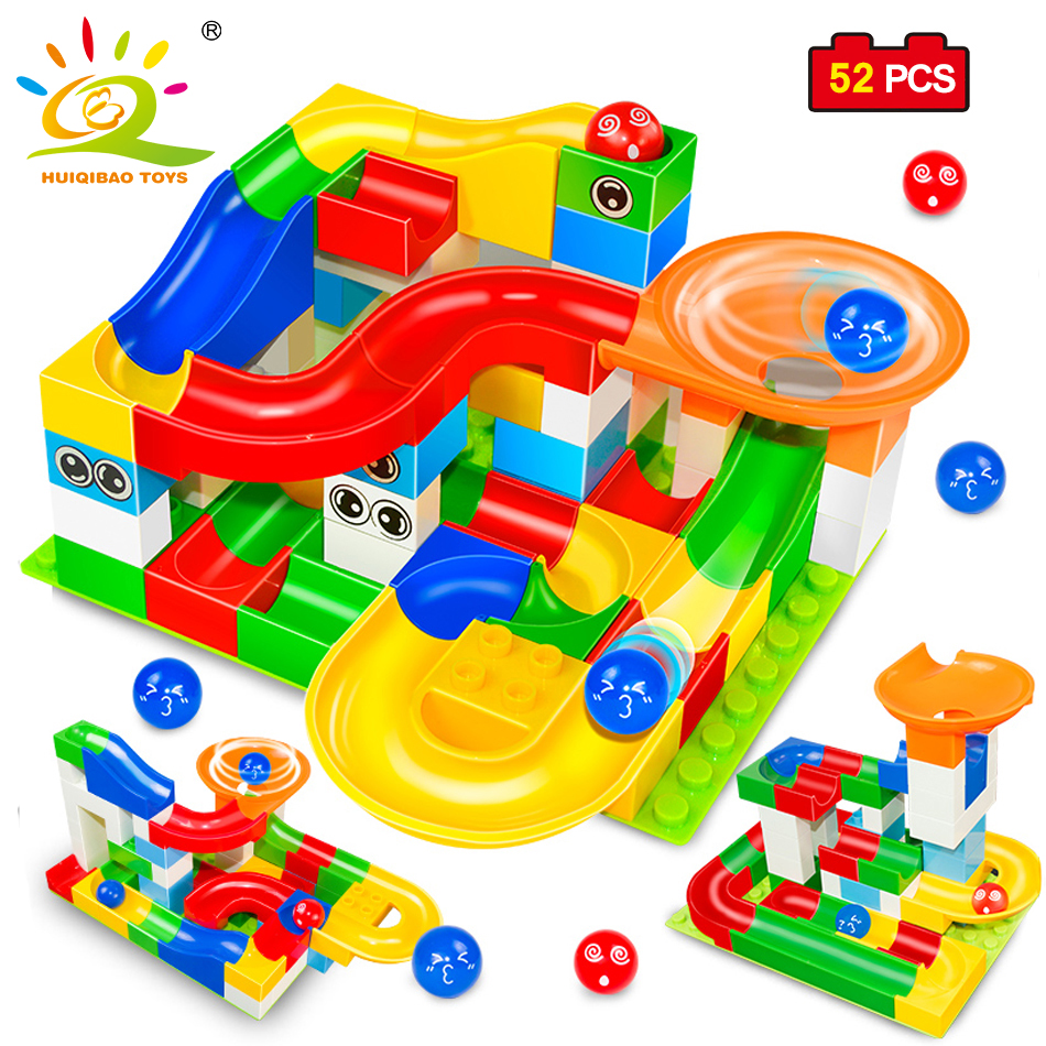 Marble Race DIY font b Construction b font Maze Balls Track Building Blocks Big Size Educational
