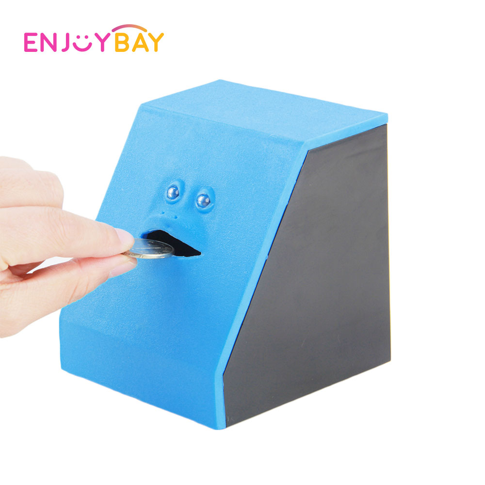 Enjoybay Face Money Eating Piggy Bank Coins Box Toy Cute Face Bank Saving Bank Boxes Smart Sensor Chewing Deposit Toys for Child