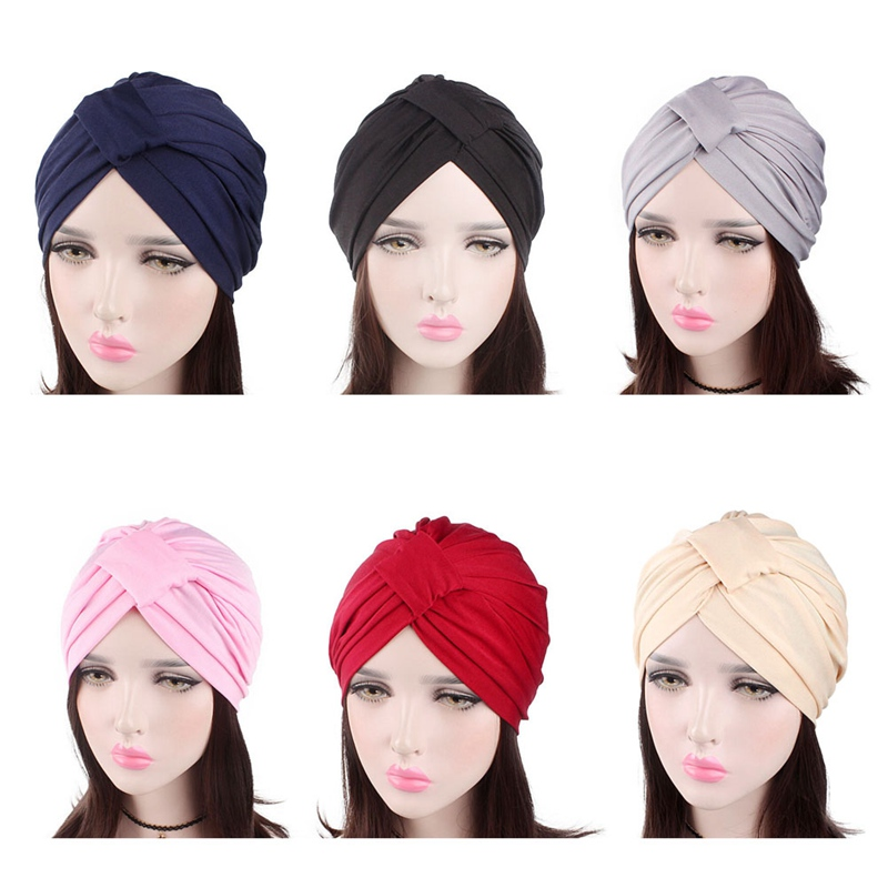 Women Turban Hats 6 Solid Color Casual Head Wrap Stretchable Chemo Pleated Cap Fashion Cotton Breathable Skullie