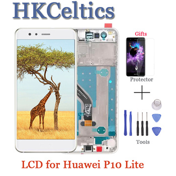 """5PCS 5.2""""inch ORIGINAL LCD For HUAWEI P10 Lite Display Touch Screen with Frame For HUAWEI P10 Lite LCD Screen was-lx1 was-l"""
