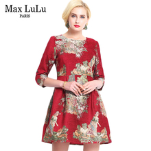 Max LuLu Autumn 2017 Luxury Brand Red Floral Women's Vintage Dresses Slash Neck Party Ladies Knitted Dress Brand Clothing XXXL