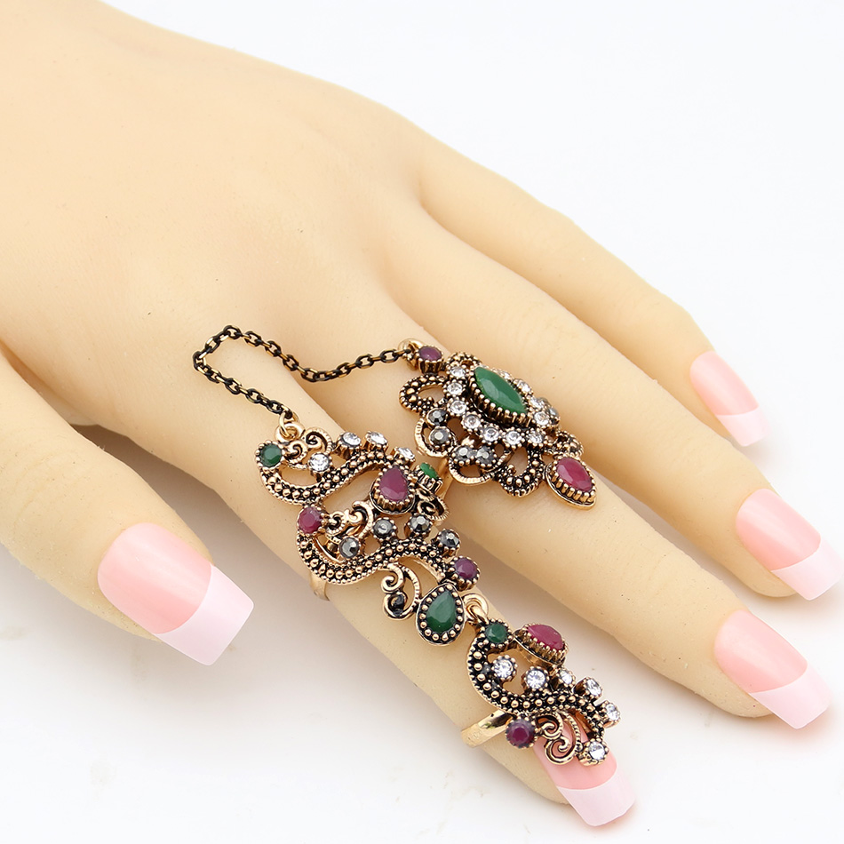 New Arrived Antique Turkish Crystal Floral Ring Retro Gold Color Hollow Out Ring Link Two Fingers Jewelry Best Festival Gift