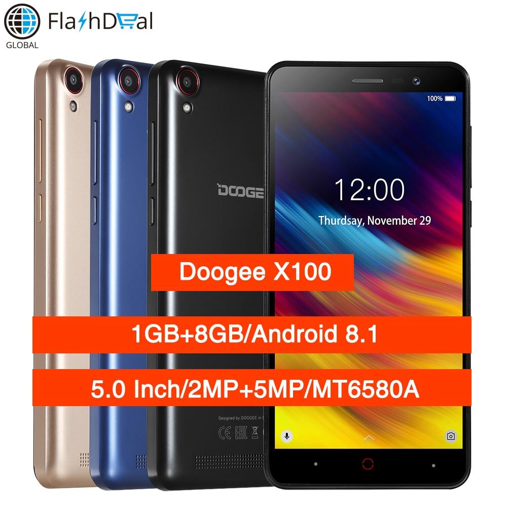 Doogee X100 Android 8.1 MTK6580 Smartphone Quad Core 1 GB RAM 8 GB ROM 3G double Sim 5MP caméra 4200 mAh GPS WiFi téléphone Mobile