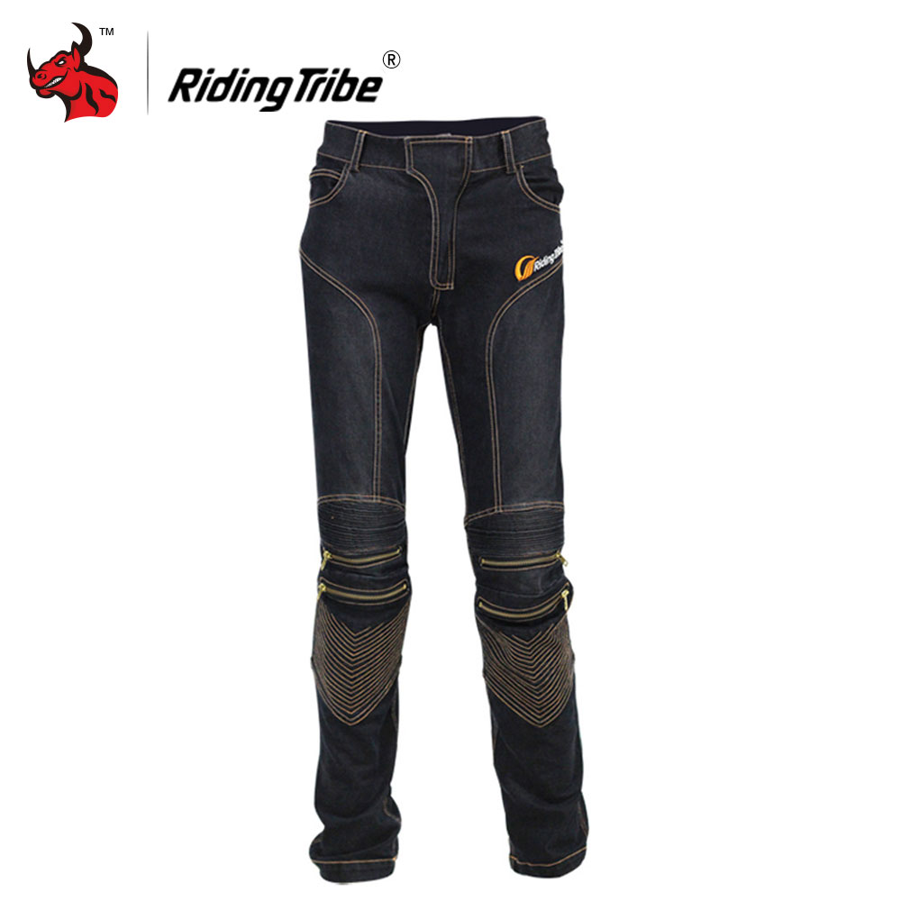 Riding Tribe Motorcycle Jeans Racing Motorcycle Pants Moto Jeans Trousers Blue And Black With CE Knee Pads brand 2017 new fashion men s straight flanging nine points trousers big embroidered jeans black and blue jeans male m xxl