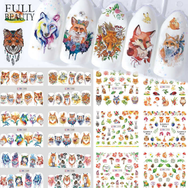 12pcs Water Decals Nail Tattoo Vos Mooie Animal Cartoon Volledige Sticker Wraps Nagels Uil Vogelverschrikker Manicure Ontwerp CHBN1285-1296