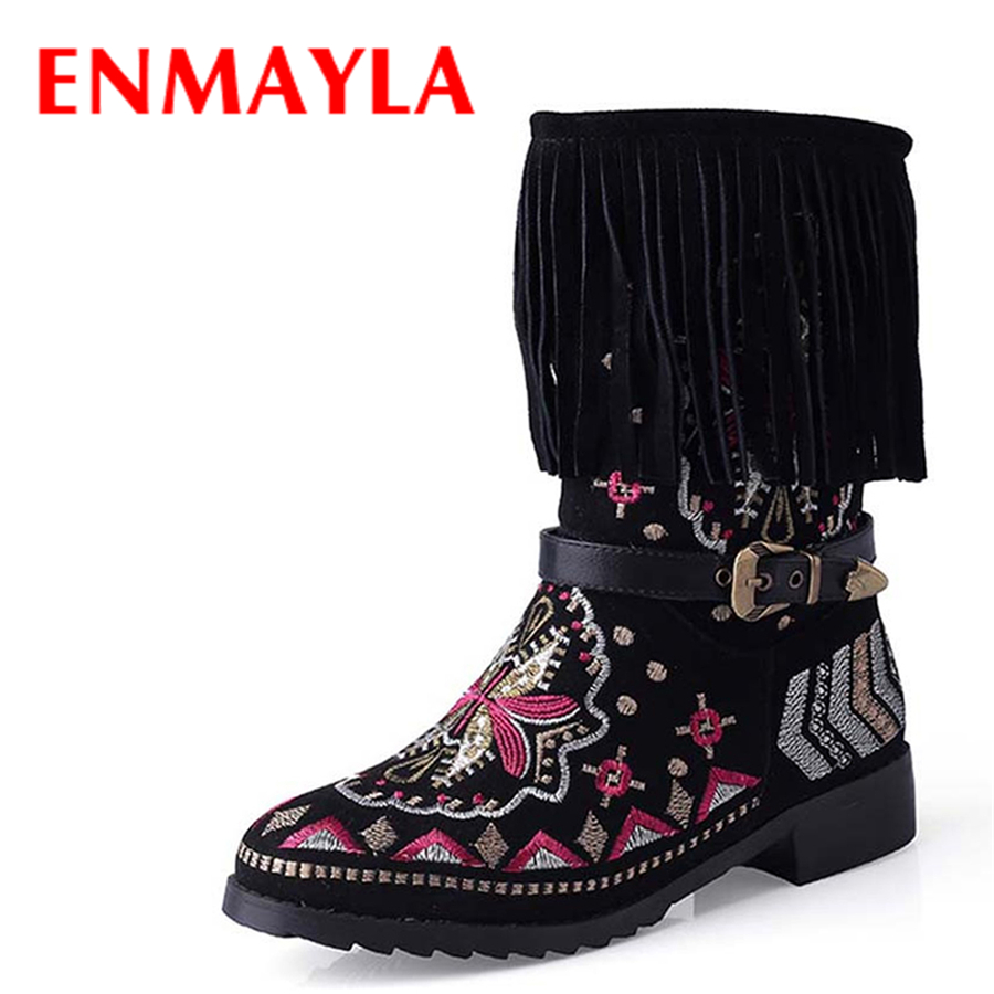 ENMAYLA Rome Style Winter Ethnic Fur Snow Half Boots Women Flats Tassel Embroidered Shoes Woman Buckle Floral Boots ethnic style v neck embroidered button design women s dress