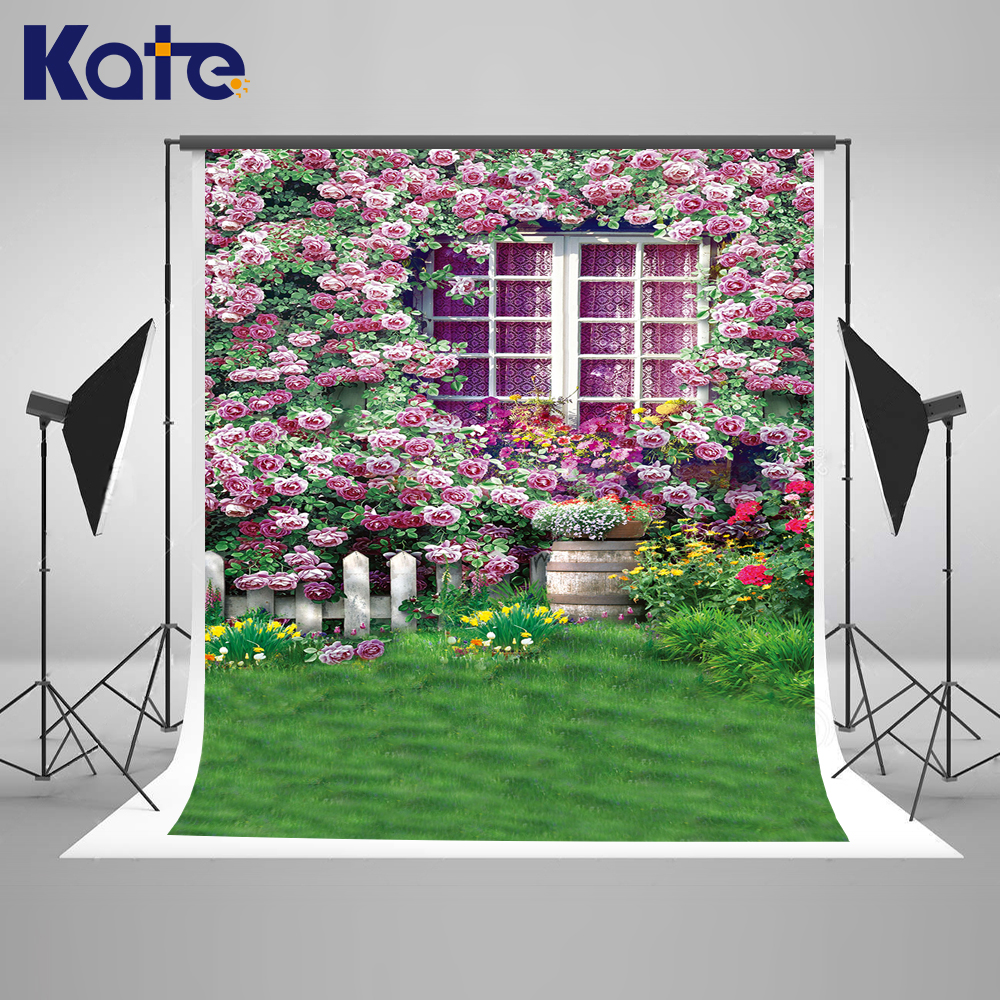 Kate 200x300 Pink Spring Backgrounds For Photo Studio Flowers Retro Window Photography Background Grassland Photo Booth Backdrop