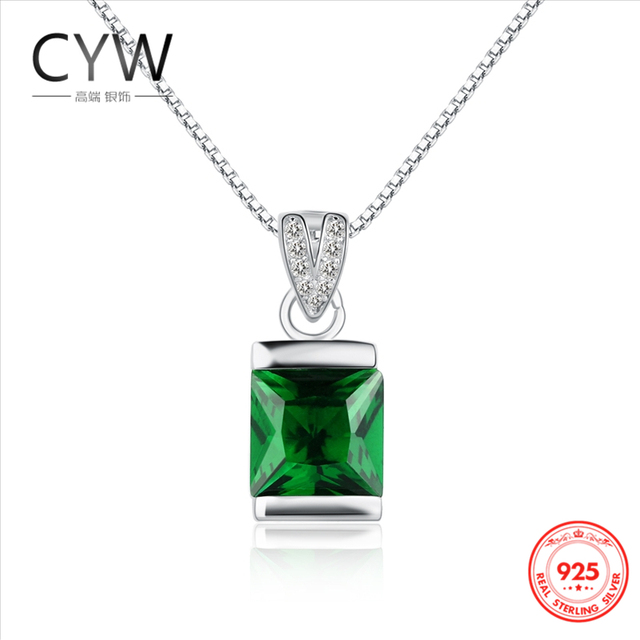 Fine Jewelry Womens Green Emerald Sterling Silver Pendant Necklace W9C1Nkr