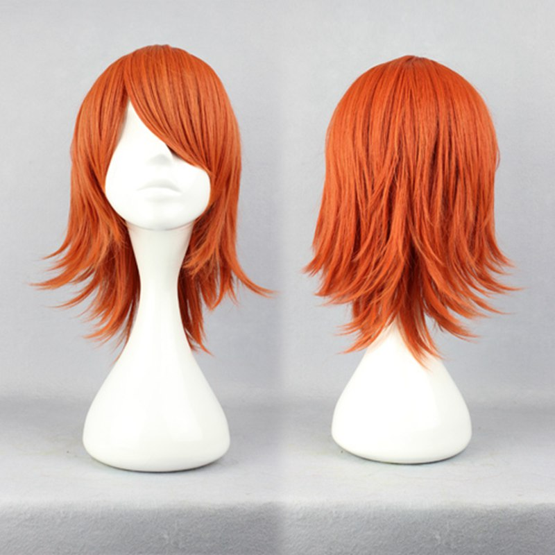35cm Short Orange Cosplay Wigs One Piece Short Male Hair