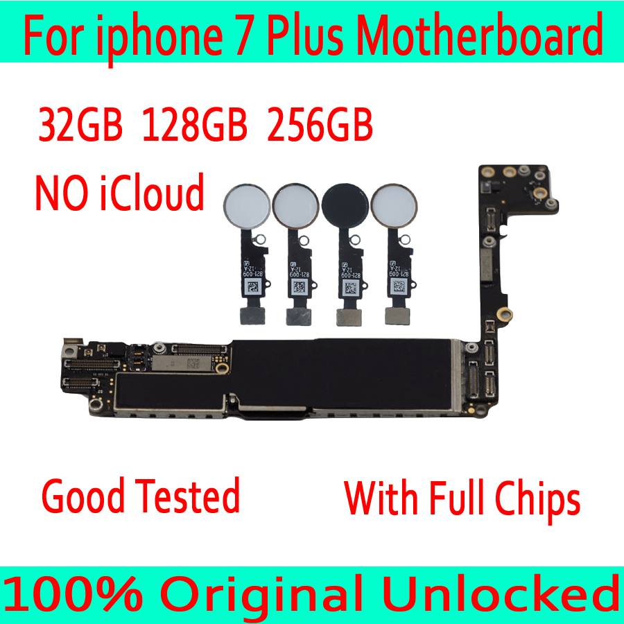 32GB 128GB 256GB for iphone 7 Plus Motherboard with without Touch ID Original unlocked Motherboard for