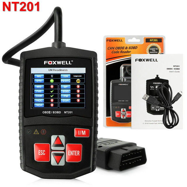OBD2 Automotive Scanner Portuguese OBD 2 EOBD Code Reader Foxwell NT201 Car Diagnostic Scan Tool With I/M Key Better Than AL319