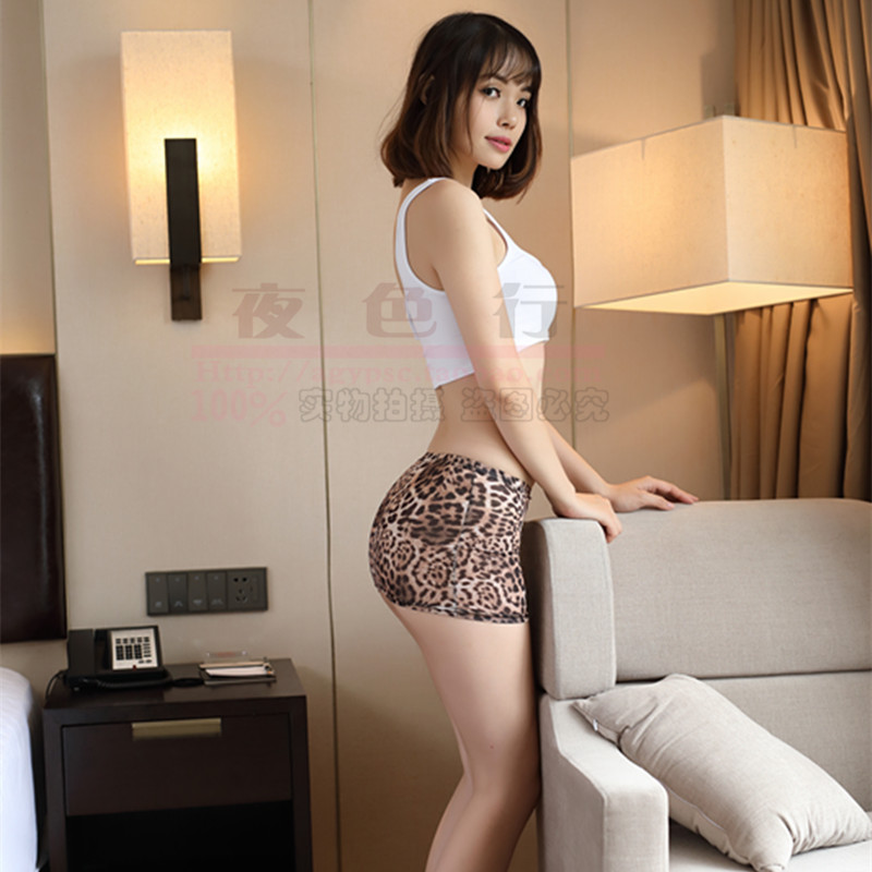 Sexy See Through Ice Silk Leopard Micro Mini Skirt Sheer Tight Pencil Skirts Transparent Night Club Skirt Fantasy Erotic Wear