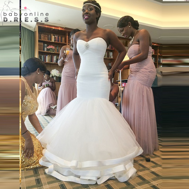 New African Mermaid Ivory Wedding Dresses 2017 Sweetheart