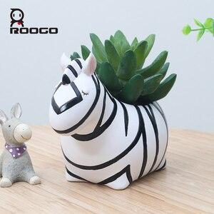 Image 2 - Roogo Cute Animal Flower Pot For Succulents Resin Home Garden Decor Flowerpot Creative Planter Pot For Desktop Decoration