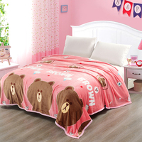 Brown Bear Pattern 1Pcs Comfortable Soft Mink Felting Blanket Floral Blanket Thrown On The Sofa / Bed / Travel Breathable Warm