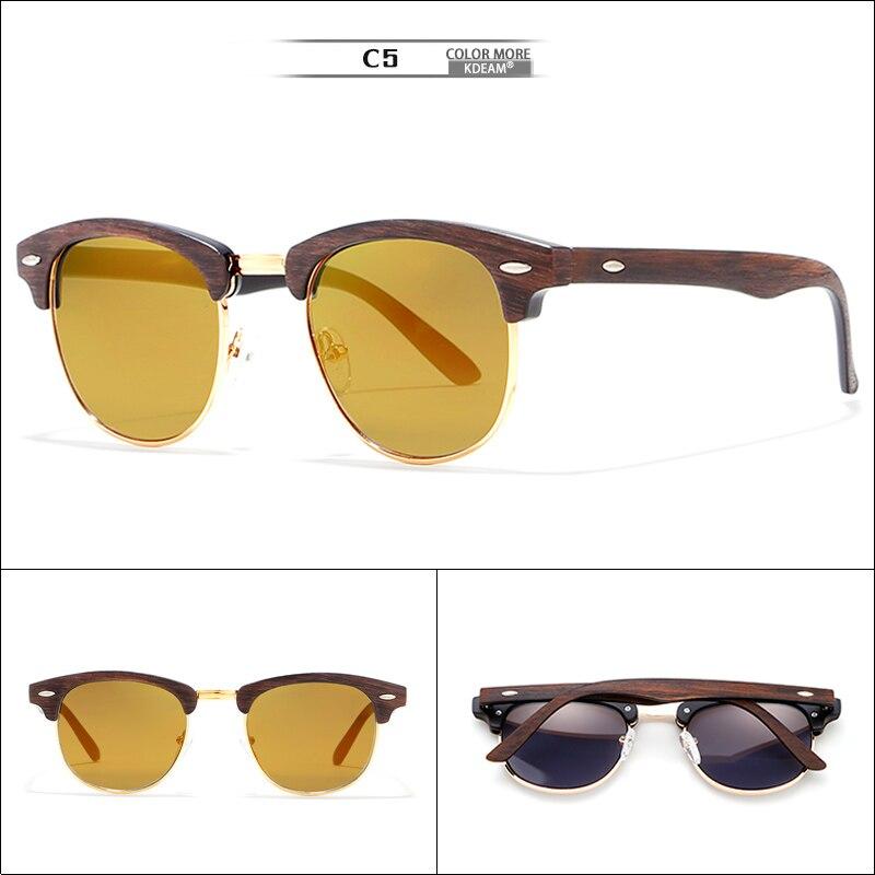 KDEAM Gold-tone Sunglasses Women Wood-Like Fashion Sun Glasses Semi-rimless 100%UV For Unisex With PU Case KD259